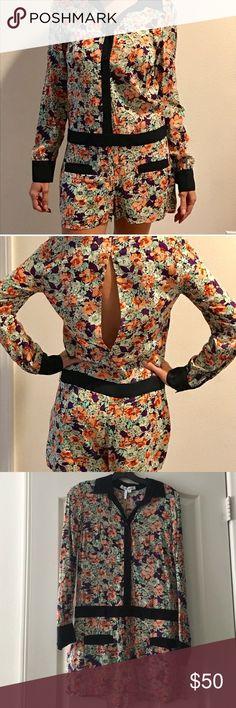 BCBG Floral Romper BCBG Floral Long Sleeve Romper with Open Back, BRAND NEW-NEVER WORN!! BCBG Dresses