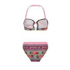 Girls bikini set - all over aztec multi coloured design and feather pattern and neon coral binding. Available wholesale.