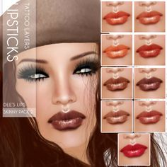 Dee lipsticks for Second Life. Like all my makeups, perfect stand alone layers that fit lots of skins and tans.  Marketplace:   https://marketplace.secondlife.com/stores/7401 www.oceanebodydesign.com http://maps.secondlife.com/secondlife/Isla%20Desirae/194/206/23