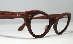 Vintage Cat Eye Eyeglasses. Faux Bois Fake Wood Cat Eye Frames