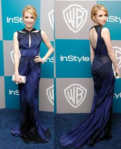 Emma Roberts In Zac Posen - 2012 Instyle Golden Globes Party