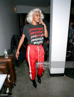 ff1f8fd44ab9 Teyana Taylor prepares backstage at the Philipp Plein fashion show during  New York fashion Week at Hammerstein Ballroom on September 2017 in New York  City.