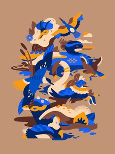 """""""Autumn Birds"""" for the Anchorage Museum in Alaska 🍂🌰🍁. Tag to featured! Autumn Illustration, Family Illustration, Digital Illustration, Animal Graphic, Kirigami, Illustrations And Posters, Vector Art, Character Design, Scrappy Quilts"""
