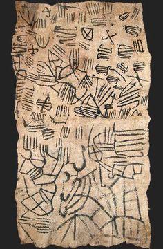 Africa | Mbuti pygmy loincloth textile, bark cloth painting, Ituri rain forest, Congo | 20th century
