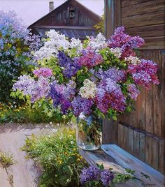 flowers for filifionka_olya World Painter, Lilac Painting, Russian Painting, Still Life Art, Pastel Art, Pictures To Paint, Ikebana, Beautiful Paintings, Landscape Art