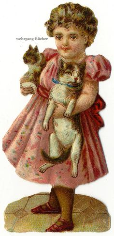 Vintage Victorian Die Cut Paper Scrap Girl Carrying Cats from C 1880