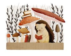 hedgehog art print The Bookish Forest: by TheFoxandTheTeacup