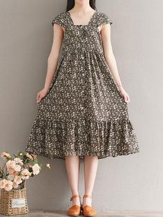 ae1c728b93bb Print Sleeveless Square Collar Loose Hem Women Dresses is cheap sale on  newchic