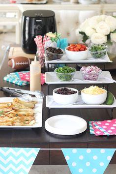 DIY French Fry Nacho Bar - a unique party buffet idea! Nacho Bar, Party Buffet, Host A Party, French Fries, Bar Ideas, Appetizers For Party, Nachos, Yum Yum