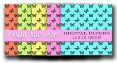 Digital paper pack - Bright Butterflys - Scrapbooking and Craft digital paper - Instant download
