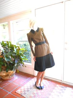 Vintage mod two piece skirt and top belted big collar browns and black retro Mary Quant 1960's Carnaby Street: small, medium by BopandAwe on Etsy