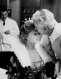 "misssophialorens: ""Sophia Loren sharing a moment with Vittorio De Sica on the set of It Started In Naples (1960) """