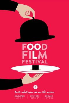 This film festival creates the face of Charlie Chaplin & the top hat is in the design of a cloche for the food. The design is great because of the white space all around the image.