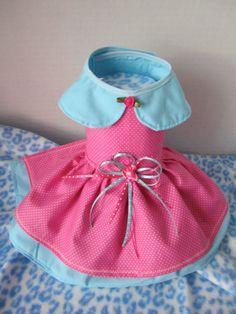 Dog Dress XXS Pink with White polkadots By by afrodytka1224, $17.00