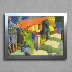August Macke - House in the Garden — Encadreé Posters #quadro #decorativo #poster #arte #pintura