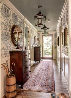 Jofa printed grasscloth wallpaper in our front entryway. Home and Studio of Eric Ross Interiors.Lee Jofa printed grasscloth wallpaper in our front entryway. Home and Studio of Eric Ross Interiors. Entry Hallway, Entryway, Long Hallway, Upstairs Hallway, Style At Home, Wainscoting Styles, Wainscoting Hallway, Hallway Wallpaper, Wainscoting Nursery