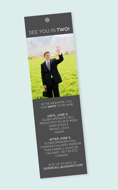 LDS Missionary Farewell Address Bookmark Card (on Etsy, at alexazdesign)  I love this idea.