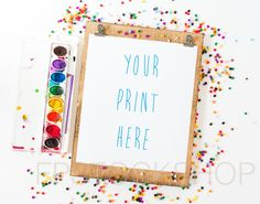 Styled Stock Photography | Wood Frame or Clipboard w/ Black and Paint and Craft Supply | Product Background | Product Photography | Digital by FPstockshop on Etsy