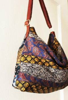 Upcycled Ties Shoulder Bag in Multicolor Earth Tones by StudioJee for $48.00