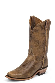 Justin Boots Men's Cracked Brown Bent Rail Cowboy Boots #distressed #squaretoe #freeshipping #onsale