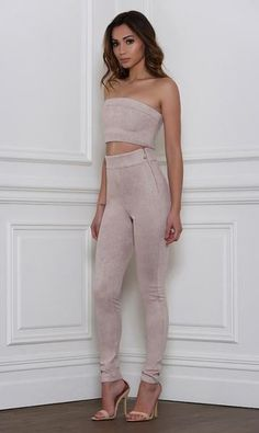Rhythm and Suede Pants- Taupe - Alyanna by Alexandra  - 1