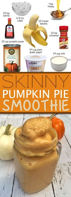 Healthy Pumpkin Pie Smoothie Recipe (SO GOOD!) Healthy Pumpkin Pie Smoothie Recipe — low calorie and super thick and delicious! The perfect Fall Healthy Smoothies, Healthy Drinks, Healthy Snacks, Low Calorie Smoothie Recipes, Nutrition Drinks, Healthy Recipes, Fruit Smoothies, Locarb Recipes, Healthy Bars