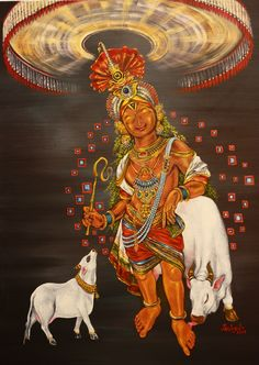 Rajagopala of Mannargudi- oil on canvas. Krishna for today.