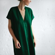 LINEN dress V-neck green LOOSE tunic dress | Etsy Midi Shirt Dress, Belted Dress, V Neck Dress, Apron Dress, Kimono Dress, Comfy Dresses, Linen Dresses, Slow Fashion, Spring Summer Fashion