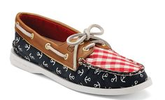 sperry navy anchors and red gingham