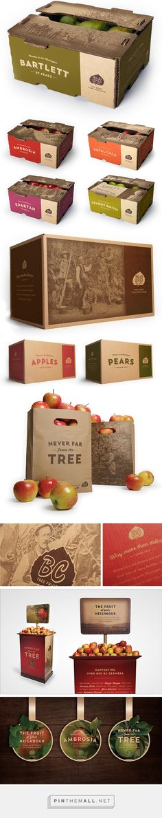 BC Tree Fruit Packaging & ReBrand on Behance by Briony Crane Vancouver, BC curated by Packaging Diva PD. Rebrand project was developed to highlight BC Tree Fruit's rich and authentic Okanagan heritage. Kraft Packaging, Food Packaging Design, Packaging Design Inspiration, Vegetable Packaging, New Fruit, Fruit Fruit, Fruit Trees, Fruit Shop, Best Fruits