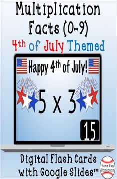These Fourth of July-themed digital multiplication flash cards are a great way during the summer and to celebrate Independence Day, which can also be used during distance learning, to have students master their multiplication math facts with factors 0-9. Assigned through Google Classroom™, the Google™ add-on 'Slide Randomizer' will shuffle the slide order to mix up the slide order every time you use the Google Slide™.