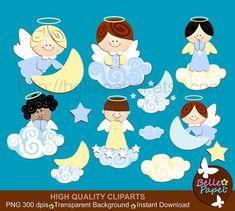 Baby Angel Boys and Clouds. Blue and Yellow. Baptism. Christening. PNG Digital Clipart Set. Personal and Commercial Use* INSTANT DOWNLOAD