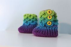 Rainbow Booties, Crochet Crocodile 0-6 Month Baby Slipper Booties on Etsy, $26.00