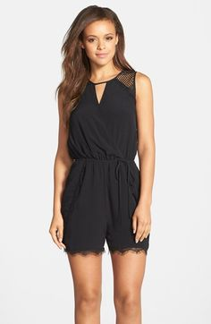 Adelyn Rae Lace Trim Blouson Romper available at #Nordstrom