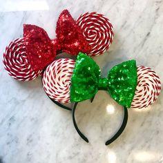 Sparkly Christmas Peppermint Mouse Ears - The Trend Disney Cartoon 2019 Disney Minnie Mouse Ears, Diy Disney Ears, Disney Diy, Disney Crafts, Disney Magic, Walt Disney, Disney Ears Headband, Minnie Mouse Headband, Disney Headbands