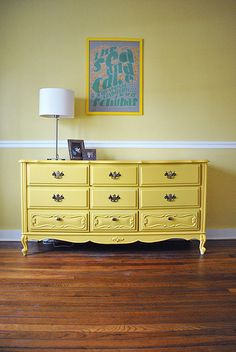 Yellow dresser for the twin's room.
