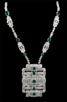Circa 1950's Cabochon Emerald & Diamond Necklace - Yafa Jewelry