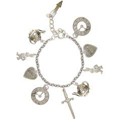 100% Nickel free Alice In Wonderland Charm Bracelet, USA! in Burnished Silver