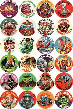 1966 Topps Ugly Buttons, Art by Norman Saunders and Wally Wood Monster Toys, Monster Art, Arte Horror, Horror Art, Monster Stickers, Cartoon Monsters, Bottle Cap Images, Cool Posters, Vintage Halloween