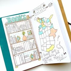 Bullet journal inspiration - two pages of ideas here! Bookshelves with space on the spines to write the names of books you have read and also a map page to track where you have visited. We like to cruise so this would be an idea of tracking an itinerary.