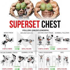 Want a BIGGER Chest? Try this workout. This superset combines another form of supersetting for back and chest to help you increase the fat-burning effect of the workout. WHAT'S A SUPERSET A Superset is when you do two exercises back to back with no res Weight Training Workouts, Gym Workout Tips, Fitness Workouts, At Home Workouts, Chest And Tricep Workout, Week Workout, Push Pull Legs Workout, Hockey Workouts, Triceps Workout