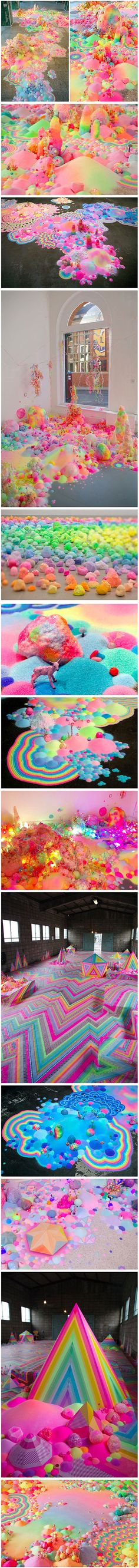 With an overpoweringly colorful and sweet visual style, Australian artist Tanya Schultz creates dazzling works of candy floor art that will make you feel like you just visited Candyland and ate the whole place down to the ground.
