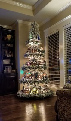 """""""Christmas tree villages by DeAnn Todd McDonald"""" Christmas Tree Village Display, Easy Christmas Decorations, Christmas Villages, Holiday Decor, Noel Christmas, Simple Christmas, Winter Christmas, Christmas Projects, Rustic Christmas"""