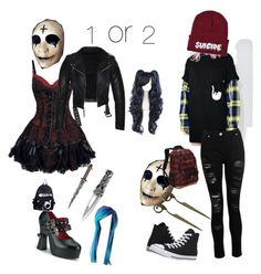 """""""creepypasta : please help me choose"""" by mountaindewqueen15 ❤ liked on Polyvore featuring Demonia, RIPNDIP, Dorothy Perkins, Converse and Eastsport"""