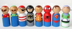 Wood Peg Dolls. (use Acrylic Paint, small tip paint brushes, Modge Podge Acrylic Sealer) Mario - Luigi - Pirate - Batman - Woody - Spiderman - Superman - Buzz Lightyear