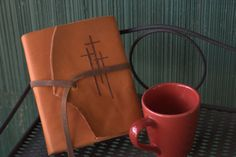 Handmade Leather Bible Cover Three Crosses by Emmanuelleather, $89.00