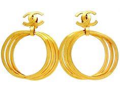 Vintage Chanel earrings hoop dangle CC logo by Chanel | Vintage Five