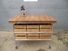 INDUSTRIAL RUSTIC BUTCHERS BLOCK KITCHEN ISLAND BENCH *2 left* Delivery availabl