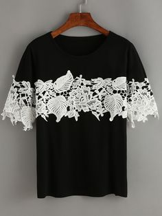 Black Contrast Lace T-Shirt