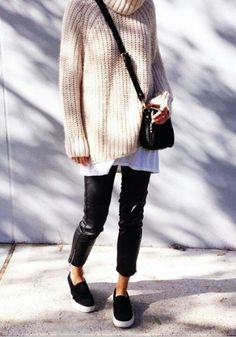 chunky sweater perforated slip on vans